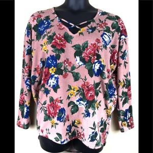 SWEET CLAIRE Floral Print Pullover Top Size Large